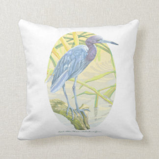 Little Blue Heron And Sweet Grass Square Pillow