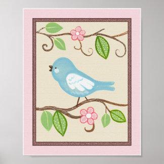 Little Blue Love Bird 2. Nursery Art Print