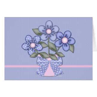 Little Blue & Pink Flowers Blank Greeting Card