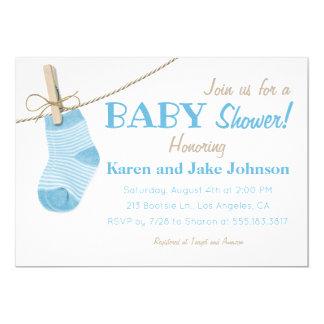 Little Blue Socks Boys Baby Shower Invitation