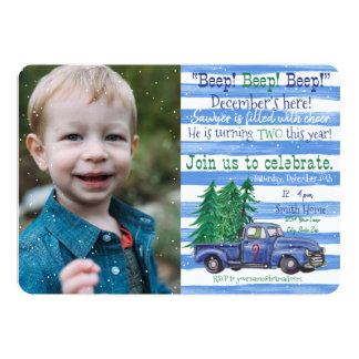 Little Blue Truck Inspired Holiday Birthday Invite