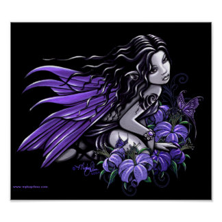 """Little Blue"" Violet Butterfly Flower Fairy Poster"