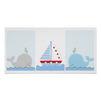 Little Blue Whale and Sailboat Art Prints Poster