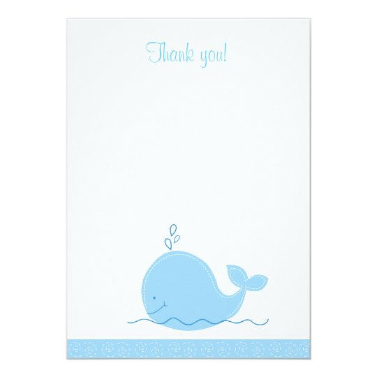 Little Blue Whale Flat Thank You note Card