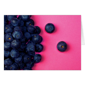 Little Blueberries Happy Pink Background - Fruit P Card