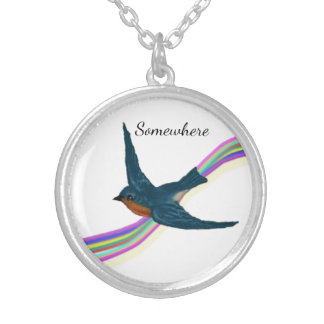 Little Bluebird and Colorful Rainbow Silver Plated Necklace