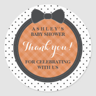 Little Bow | Halloween Baby Shower Thank You Classic Round Sticker