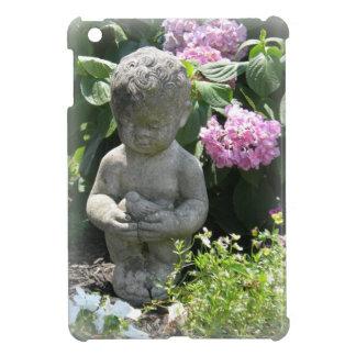 Little Boy and Bird Garden Statue iPad Mini Cover