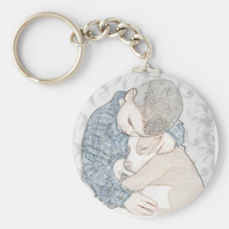 Little boy and puppy basic round button key ring