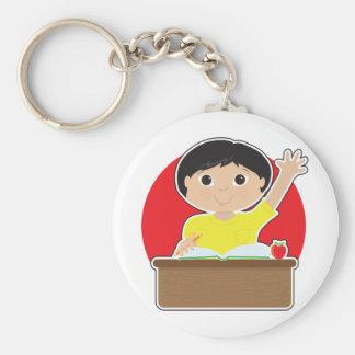Little Boy at School Asian Basic Round Button Key Ring