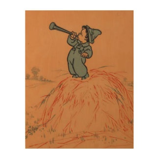 Little Boy Blue Mother Goose Wood Print