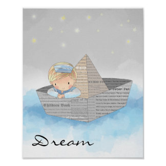 Little Boy Dreaming Poster
