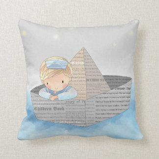 Little Boy in Dream Boat Accent Pillow