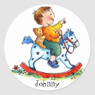 Little Boy on Rocking Horse-Customizable Stickers