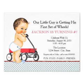 Little Boy Red Wagon Birthday Party 11 Cm X 14 Cm Invitation Card