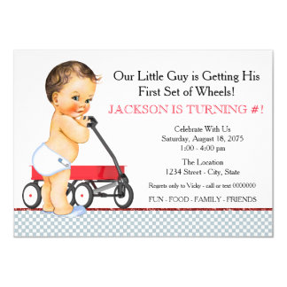 Little Boy Red Wagon Birthday Party 11 Cm X 16 Cm Invitation Card