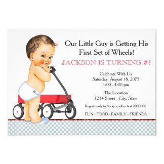 Little Boy Red Wagon Birthday Party Card