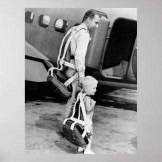 Little Boy Wearing Parachute, 1940s Poster