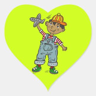 Little Boy With Airplane Heart Sticker
