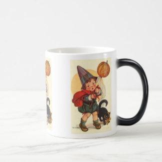 Little Boy with Cat and Pumpkin Halloween Mug