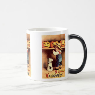 Little Boy with Dog and Pumpkins Halloween Mug