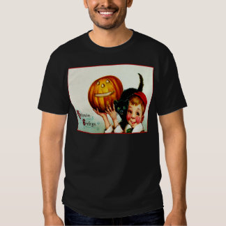 Little Boy With His Black Cat & Jack O' Lantern Shirt