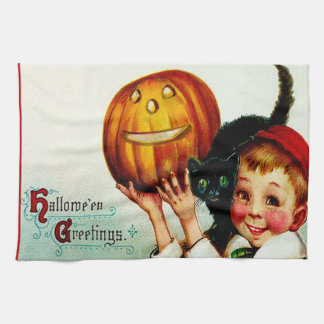 Little Boy With His Black Cat & Jack O' Lantern Tea Towel