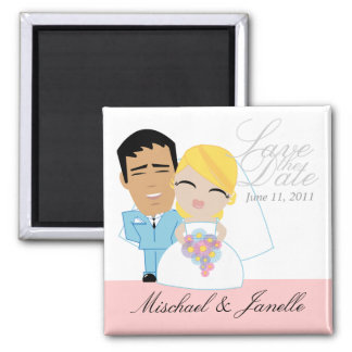 little BRIDE & GROOM save the date keepsake 16 Square Magnet