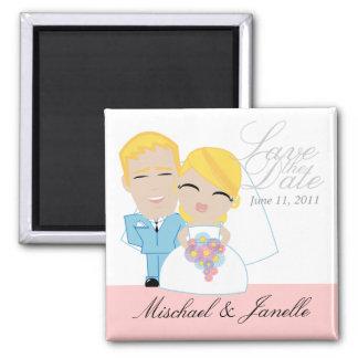 little BRIDE & GROOM save the date keepsake 2 Square Magnet