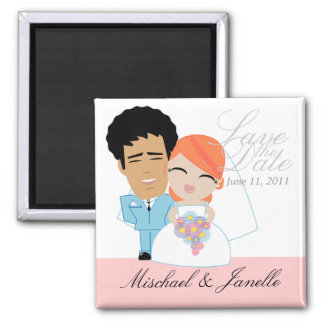 little BRIDE & GROOM save the date keepsake 9 Square Magnet