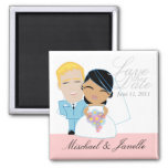 little BRIDE & GROOM save the date keepsake Square Magnet