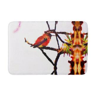 Little Bronze, gold, red and purple hummingbird Bath Mat