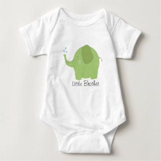 Little Brother or Sister Green Elephant Baby Baby Bodysuit
