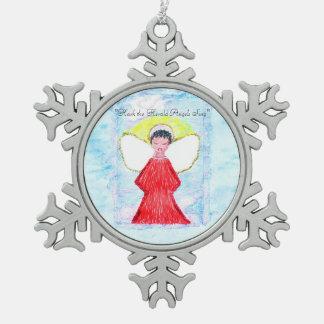 """Little Brown Angel Glitter"" snowflake ornament"