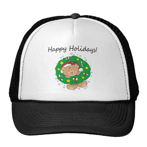 Little Brown Bear Happy Holidays Mesh Hat