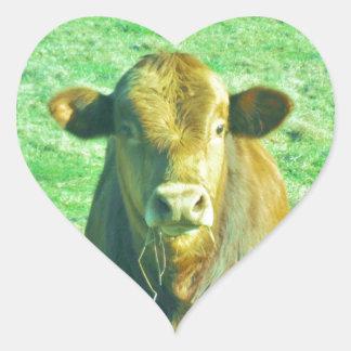 Little Brown Cow in Pastel Green Grass Heart Sticker