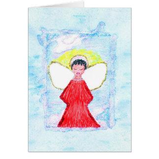 Little Brown Glitter Angel Greeting Card
