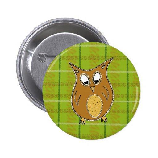 Little Brown Owl on Green Tartan Button
