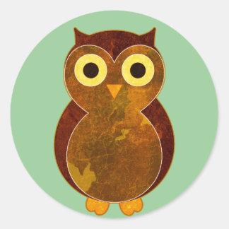 Little Brown Owl Round Sticker