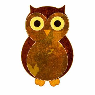 Little Brown Owl Sculpture Pin Photo Cut Out
