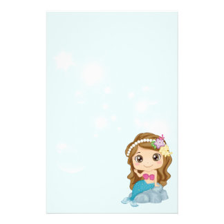 Little Brunette Cartoon Mermaid Sitting on Rock Stationery