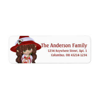 Little Brunette Christmas Witch Return Address Label
