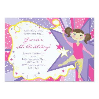 Little Brunette Gymnast Invitations