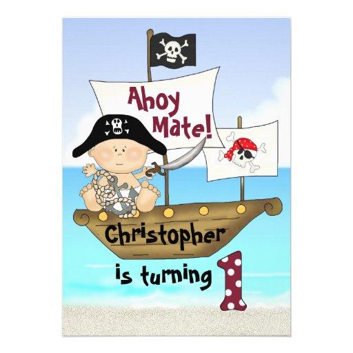 Little Buccaneer 1st Birthday Pirate Invitation