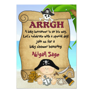 "Little Buccaneer Baby Shower Pirate Invitation 5"" X 7"" Invitation Card"