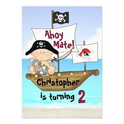 Little Buccaneer Birthday Pirate Invitation