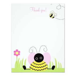 Little Bumble Bee 4x5 Flat Thank you note 11 Cm X 14 Cm Invitation Card