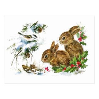 Little Bunnies Christmas Postcard