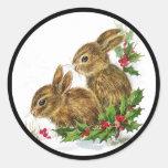Little Bunnies Christmas Round Sticker