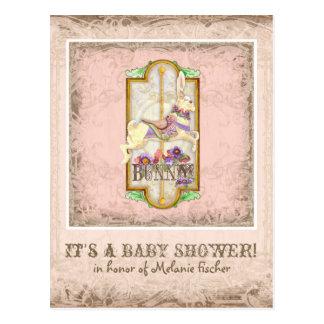 Little Bunny Baby Girl Circus Carousel Vintage Art Postcard